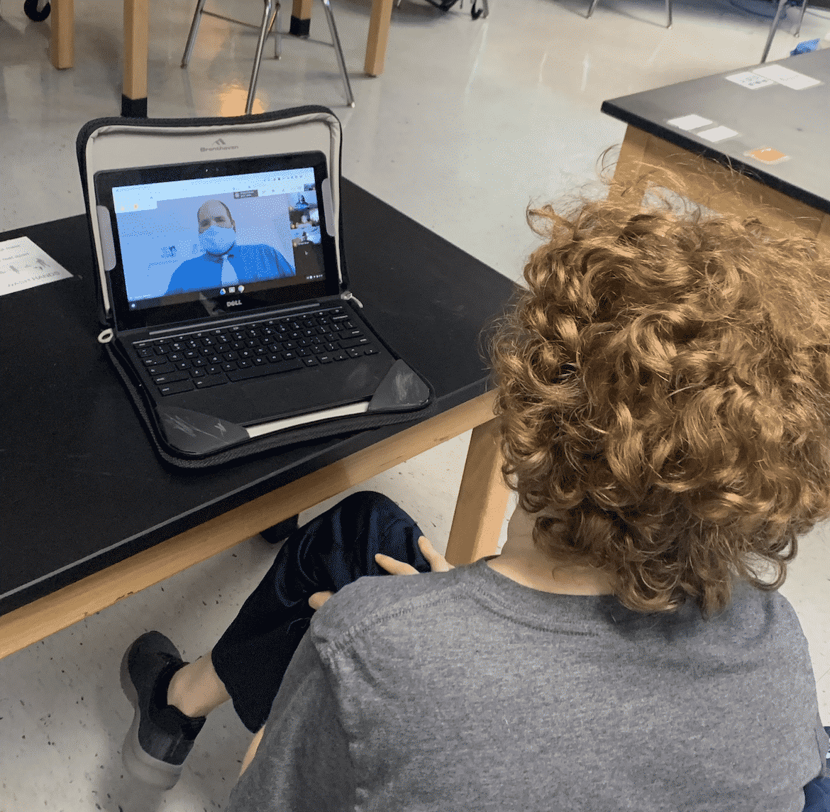 Student viewing a teacher remotely